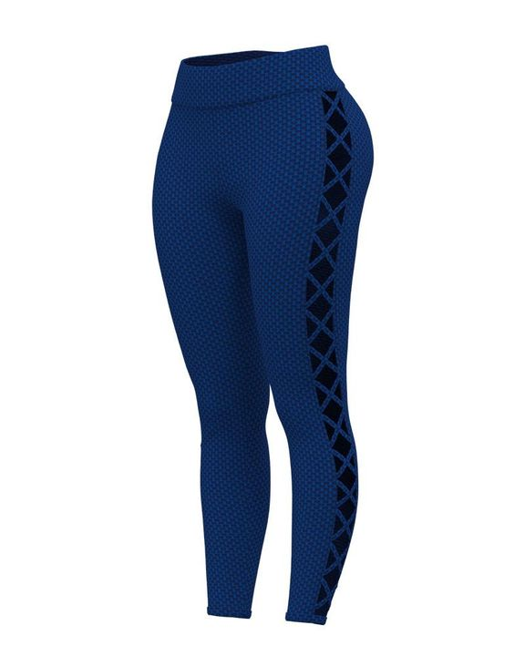 Solid Textured Criss Cross Hollow Out Sports Leggings gallery 3
