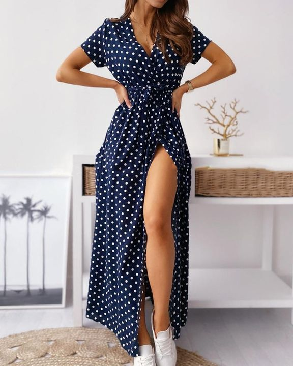 Polka Dot Print Self-Tie Split Overlap Maxi Dress gallery 9