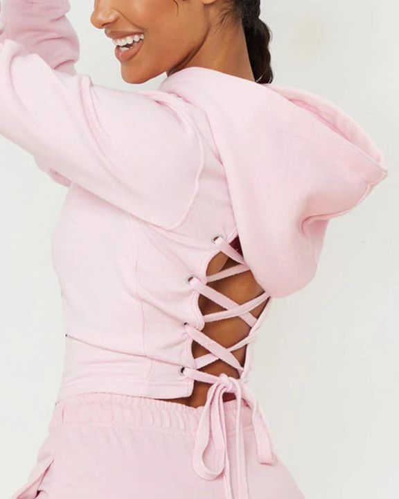 Lace Up Hollow Out Back Crop Hoodie gallery 5