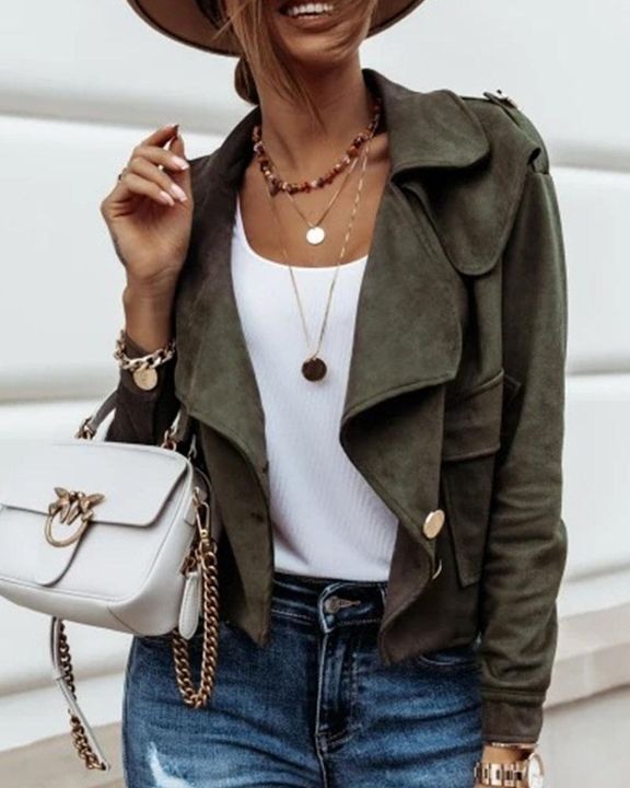 Suede Button Front Flap Pocket Moto Jacket gallery 5