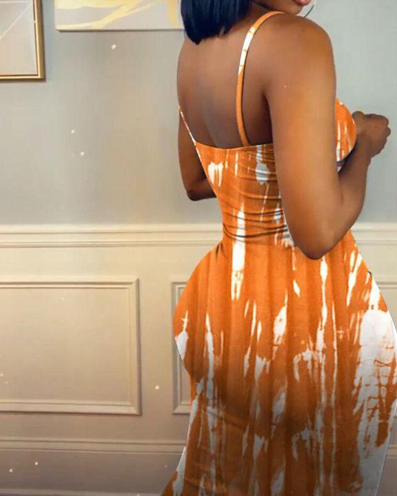 Tie Dye Cut Out Cami Midi Dress gallery 10