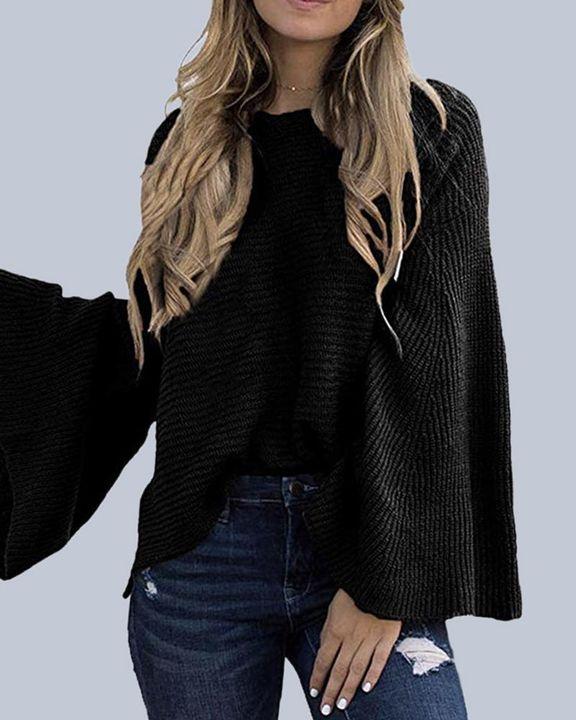 Solid Bell Sleeve Scoop Neck Sweater gallery 16