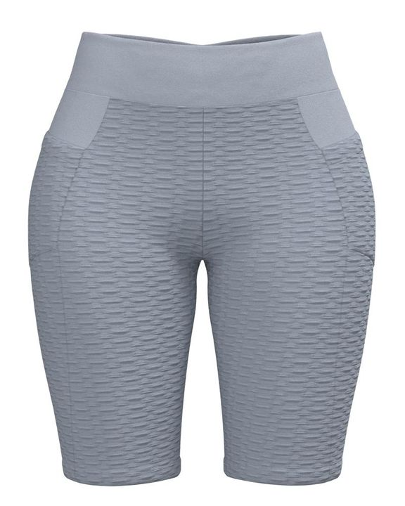 Textured Ruched Back Pocket Detail Sports Shorts gallery 3