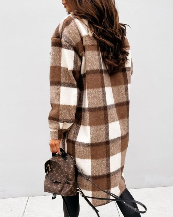 Plaid Print Patch Pocket Button Up Teddy Coat gallery 7