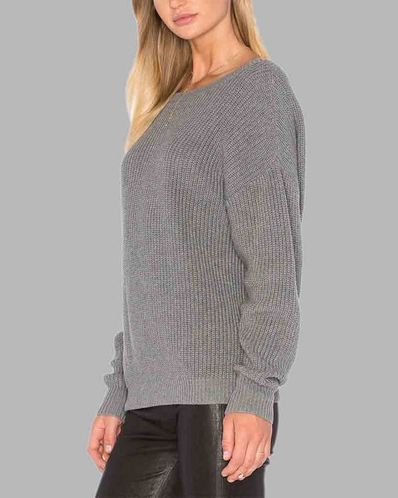 Chunky Knit Cutout Back Drop Shoulder Sweater gallery 7
