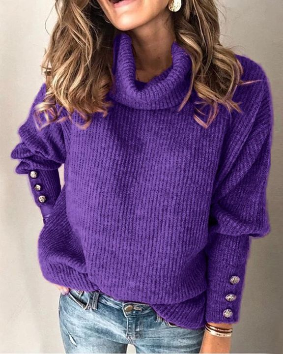 Solid Button Detail Ribbed High Neck Sweater gallery 5