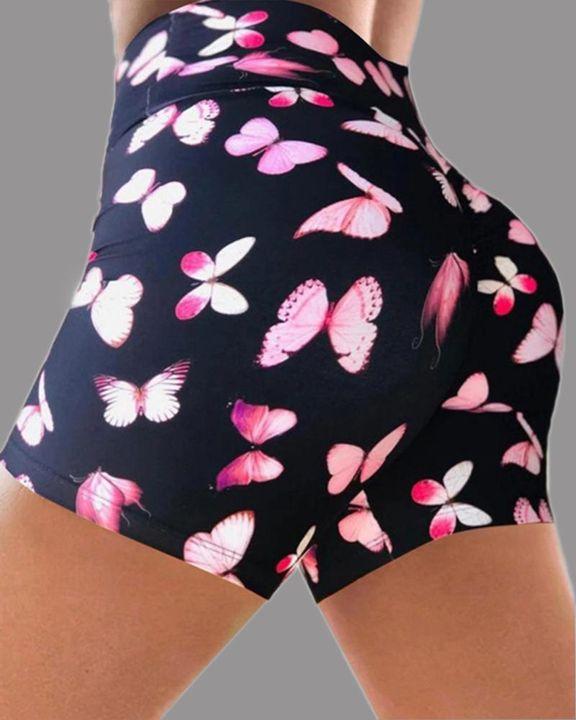 Allover Print Wide Waistband Scrunch Butt Sports Shorts gallery 5