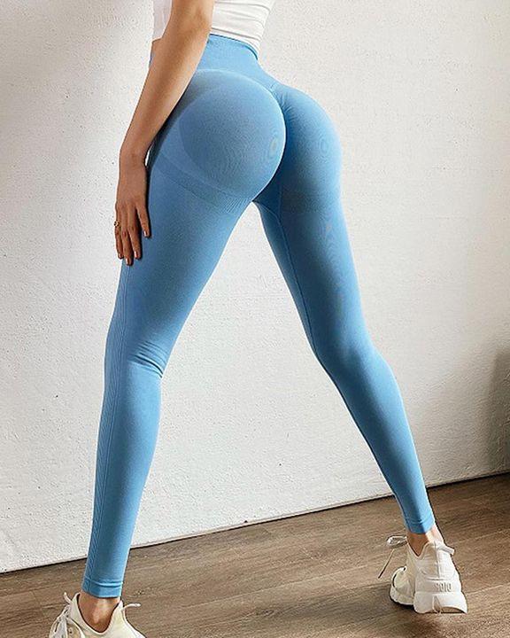 Solid Scrunch Butt High Waist Sports Leggings gallery 12