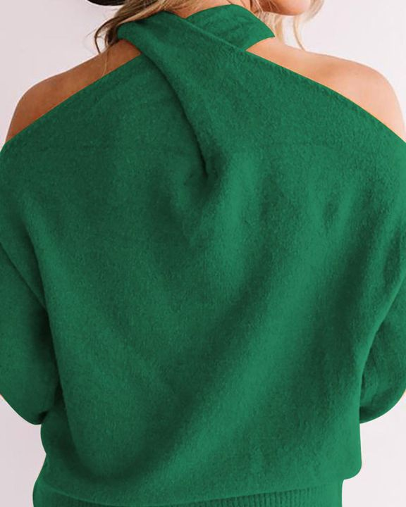 Solid Cold Shoulder Rib Knit Sweater gallery 10