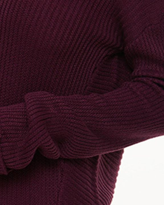 Solid Ribbed Knit Drop Shoulder Sweater gallery 4