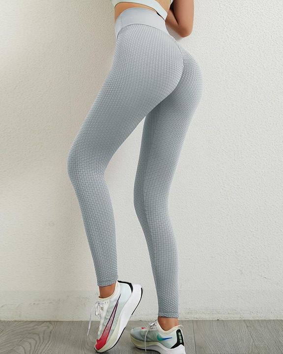 Solid Textured Wide Waistband Scrunch Butt Sports Leggings gallery 10