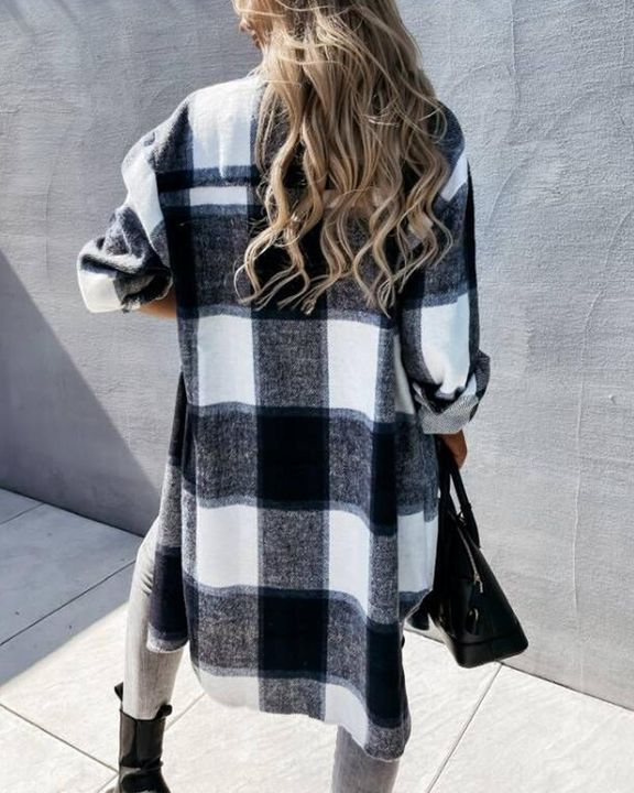 Plaid Flap Pocket Button Up Knee Length Coat gallery 4