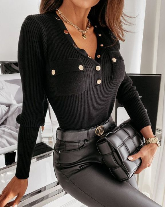 Rib Knit Button Decor Pocket Front Bodycon Sweater gallery 2