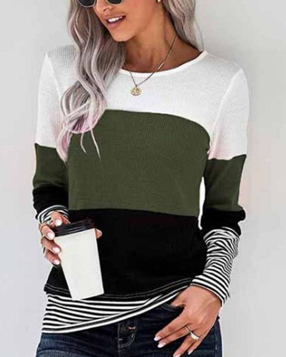 Colorblock Striped Print Round Neck Sweater gallery 4