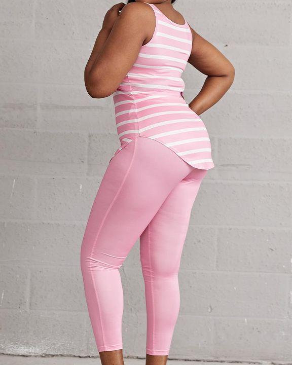 Striped & Leopard Print Curved Hem Top & Pants Set gallery 6