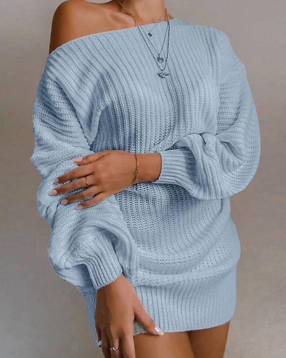 Boat Neck Lantern Sleeve Sweater Dress gallery 2
