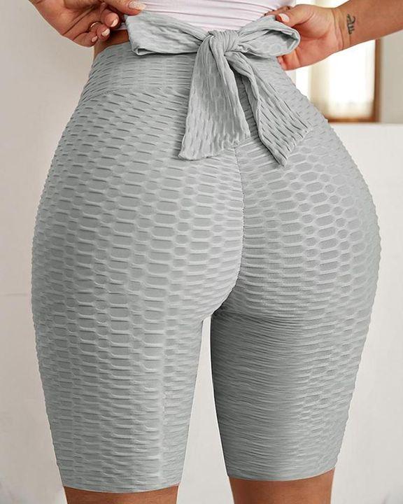 Textured Bow Tie Back High Waist Biker Shorts gallery 6