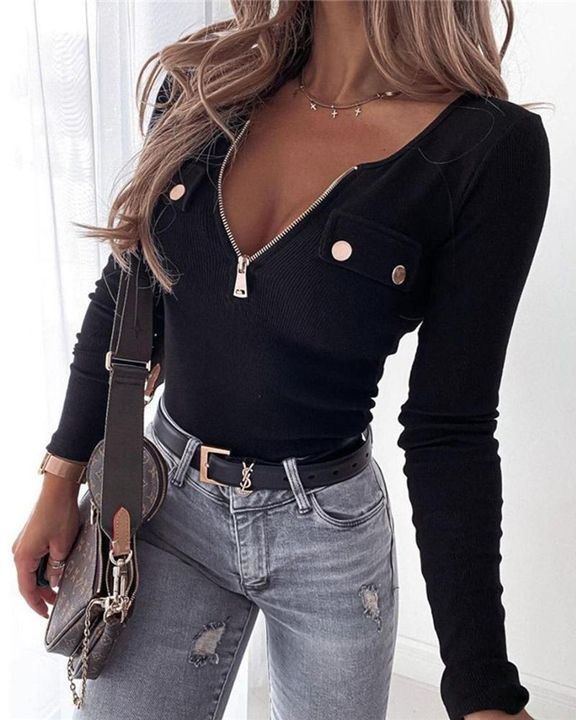Ribbed Zip Up Front Studded Button Blouse gallery 2