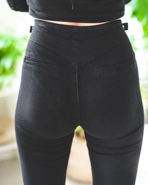 Zip-Pocket Buckle Design High Waist Pants gallery 5