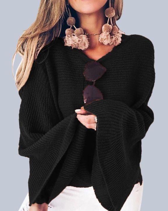 Solid Bell Sleeve Scoop Neck Sweater gallery 3