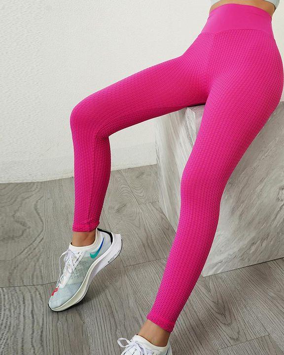 Solid Textured Wide Waistband Scrunch Butt Sports Leggings gallery 14