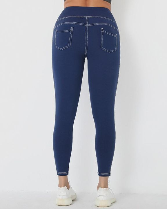 Stitch Detail Wide Waistband Sports Leggings gallery 3