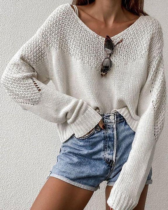Crochet Drop Shoulder V Neck Sweater gallery 1