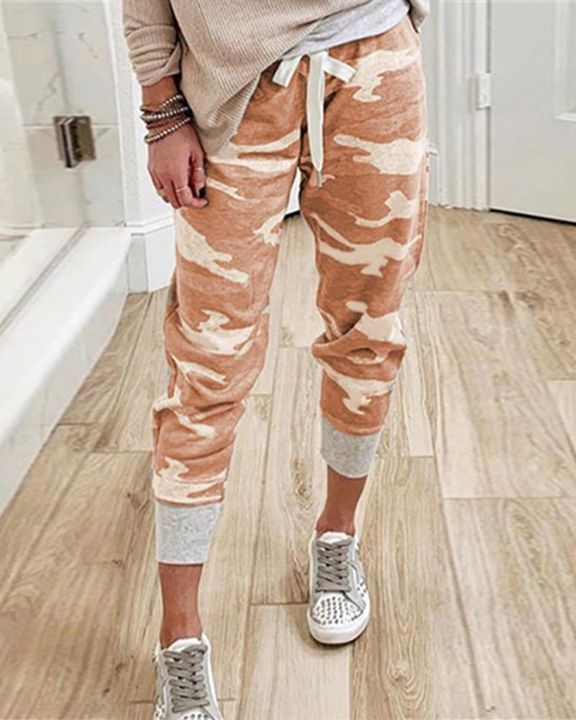 Camo Drawstring Front Pocket Detail Pants gallery 3