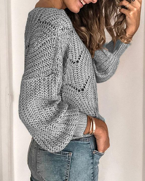Solid Rib-Knit Hollow Out Sweater gallery 10