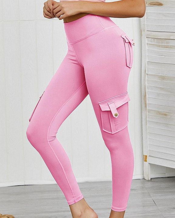 Flap Pocket Butt Lifting Top Stitching Sports Leggings gallery 9