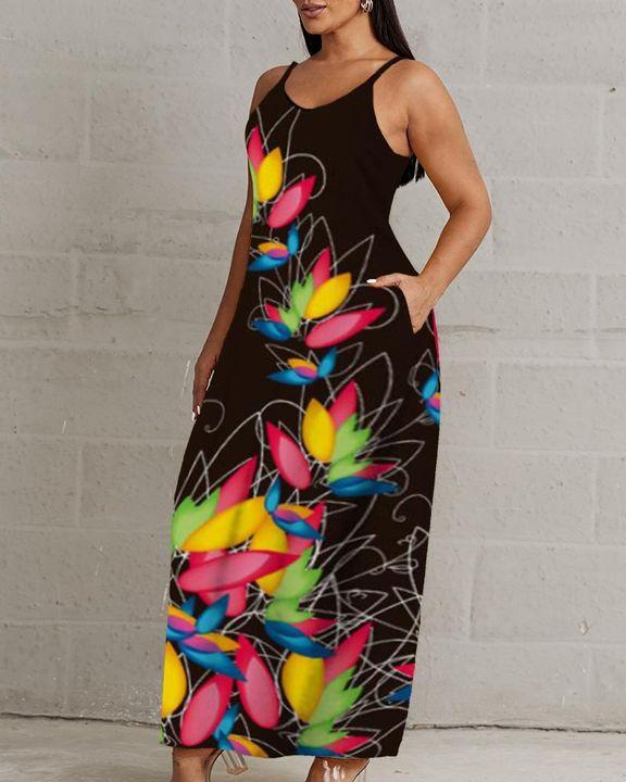 Lips & Floral Print V Neck Cami Maxi Dress gallery 3