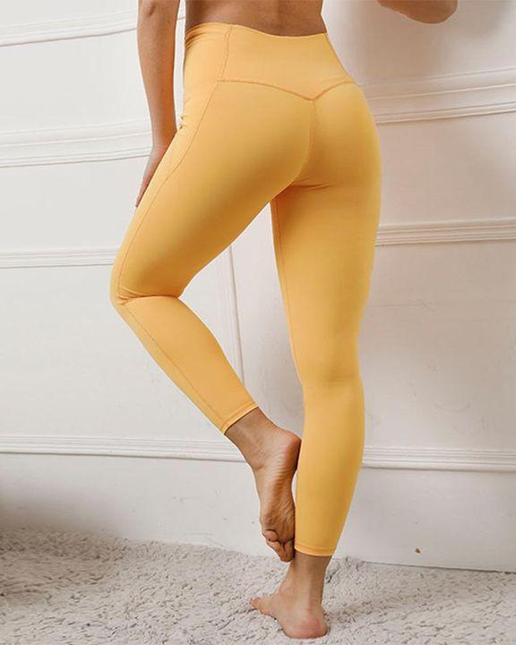 Contrast Stitch Pocket Side Softness Butt Lifting Sports Leggings gallery 15