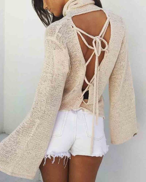 High Neck Lace Up Back Bell Sleeve Sweater gallery 4