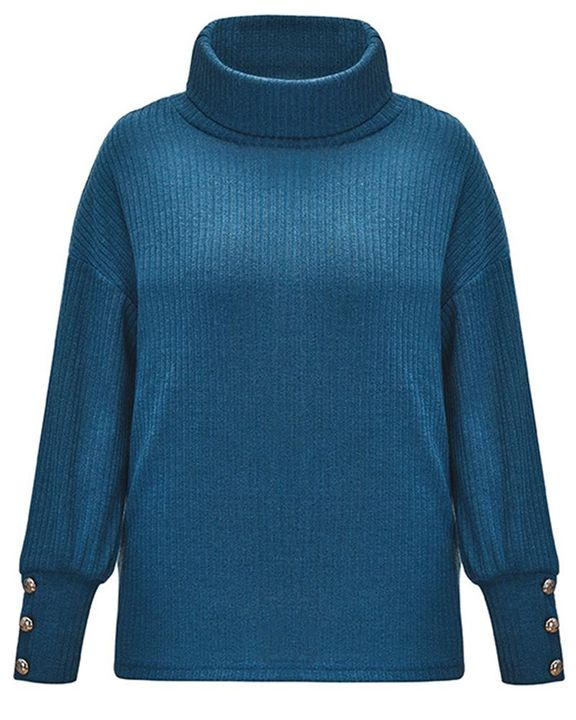 Solid Button Detail Ribbed High Neck Sweater gallery 11