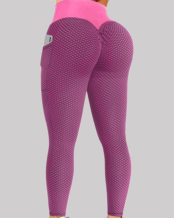 Textured Pocket Detail Wide Band Waist Sports Leggings gallery 2