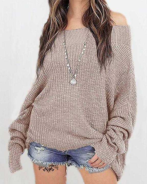 Boat Neck Drop Shoulder Oversized Sweater gallery 1
