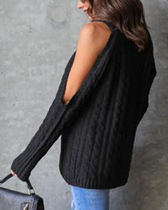 Cable Knit Cold Shoulder Sweater gallery 6