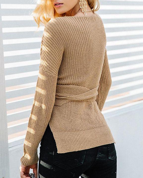 Chunky Knit Self-Tie Surplice Neck High Low Sweater gallery 6