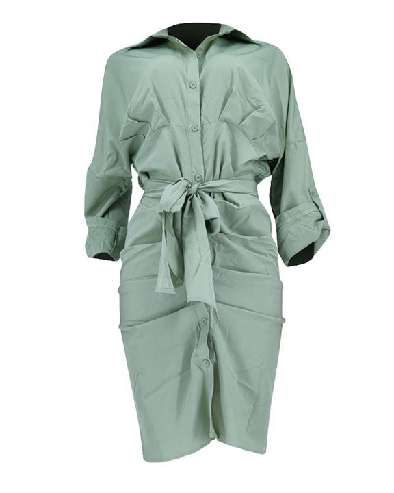Solid Button Up Ruched Belted Knee Length Dress gallery 7