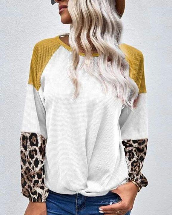 Cheetah Panel Colorblock Twist Front Drop Bishop Sleeve Sweater gallery 2