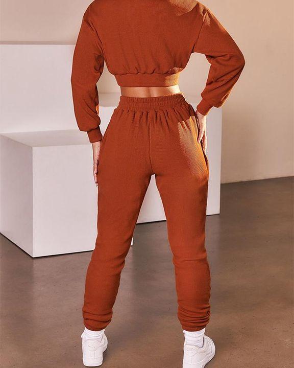 Solid Ribbed Long Sleeve Crop Top & Pants Set gallery 15