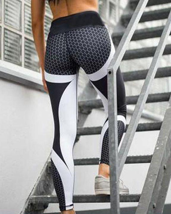 Colorblock Butt Lifting High Waist Sports Leggings gallery 5