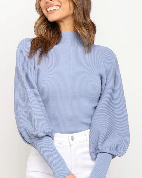 Solid Ribbed Leg-of-mutton Sleeve Sweater gallery 4