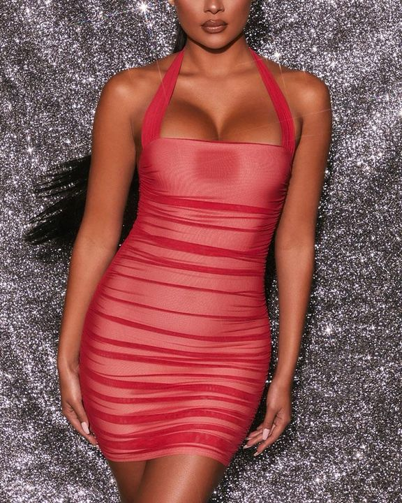 Mesh Ruched Backless Halter Bodycon Dress gallery 3