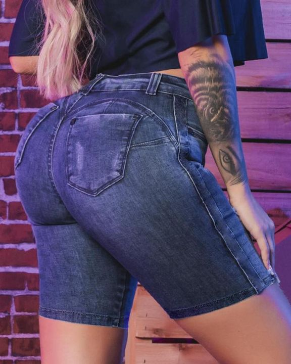 Mid Waist Butt Lifting Bermuda Denim Shorts gallery 2