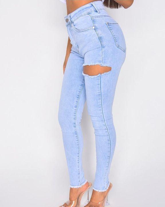 Cutout Raw Hem High Waist Skinny Jeans gallery 5