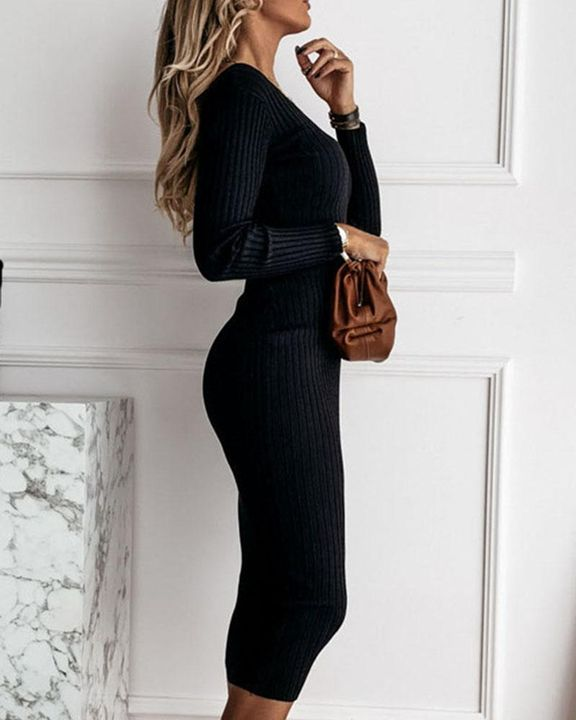 Solid Rib-Knit Form Fitted Maxi Dress gallery 8