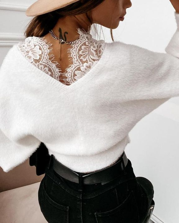 Lace Panel Drop Shoulder Sweater gallery 3