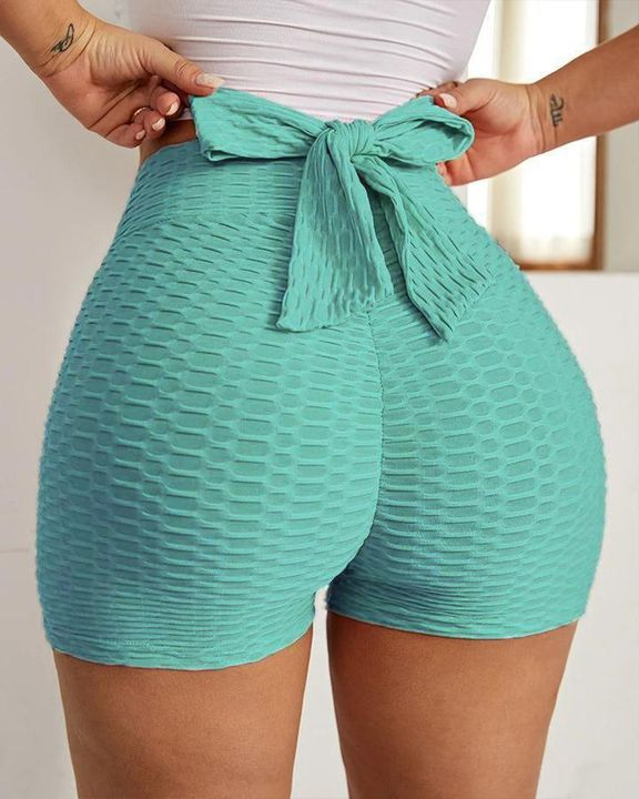 Textured Bow Tie Butt Lifting Sports Shorts gallery 3