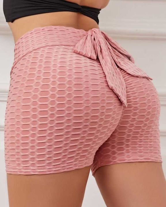 Bow Tie Textured Butt Lifting Sports Shorts gallery 5